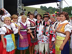 Carpatho-Rusyn sub-groups - Presov area Lemkos (left side) and Przemyśl area Ukrainians in original goral folk-costumes..jpg