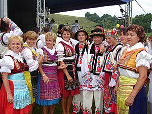 Carpathian Ruthenia - Carpatho-Rusyn sub-groups - Prešov area Lemkos (left side) and Przemyśl area Rusyns in stylised traditional folk-costumes. Photo: Village Mokre near Sanok. 2007
