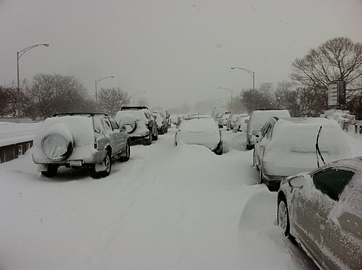 Cars snowed in on Lake Shore Drive in Chicago feb 2 2011