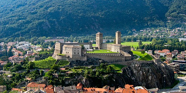 The Castles of Bellinzona, guarding the access to the Gotthard and other Alpine passes since the Roman Era