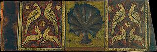 Ceiling panel with palm leaf, birds and four-legged animals