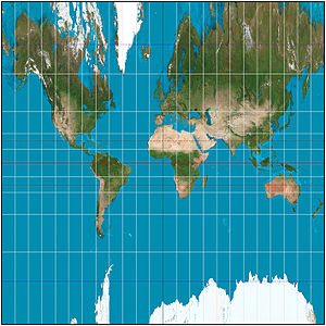 Central cylindrical projection - The central cylindrical projection with a 15° graticule, approximately to latitude ±72°. Distortion is noticeably worse than the Mercator projection.