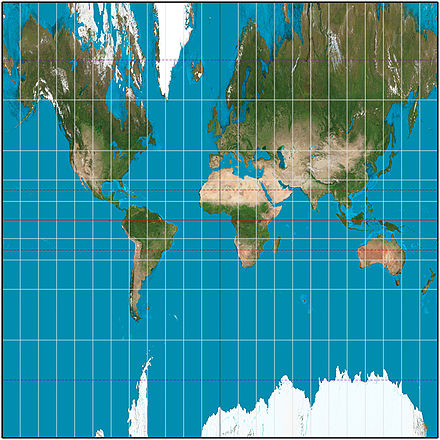 The central cylindrical projection with a 15deg graticule, approximately to latitude +-72deg. Distortion is noticeably worse than that of the Mercator projection. Central cylindric projection square.JPG
