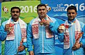 Chain Singh, Gagan Narang and Surendra Singh Rathod of India winner of Gold Medal in the 50m Rifle Prone Men's Team events, at the 12th South Asian Games-2016, in Guwahati on February 11, 2016.jpg
