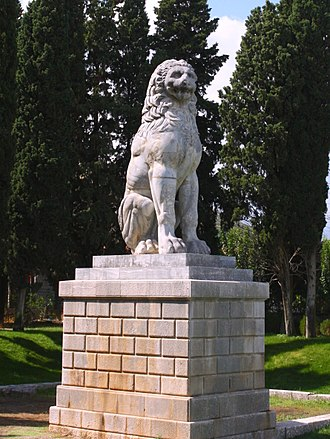 Battle of Chaeronea (338 BC) - The Lion of Chaeronea, probably erected by the Thebans in memory of their dead.