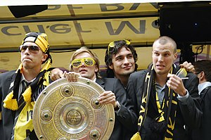 Borussia Dortmund - Borussia Dortmund players celebrate winning the Bundesliga in 2011