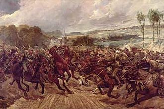 9th Queen's Royal Lancers - The charge of a squadron of the 9th Lancers against the Prussian Dragoons of the Guard at Montcel à Frétoy on 7 September 1914 (Richard Caton Woodville)