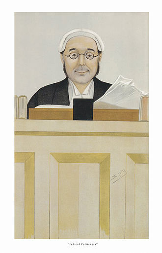 """Charles Bowen, Baron Bowen - """"Judicial Politeness"""" Bowen as caricatured by Spy (Leslie Ward) in Vanity Fair, March 1892"""