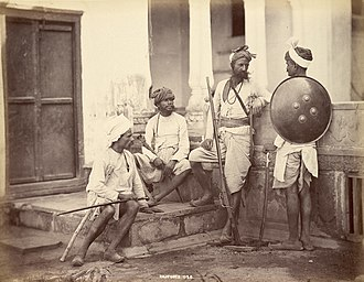 Caste system in India - From the 1850s, photography was used in Indian subcontinent by the British for anthropological purposes, helping classify the different castes, tribes and native trades. Included in this collection were Hindu, Muslim and Buddhist (Sinhalese) people classified by castes. Above is an 1860s photograph of Rajputs, classified as a high Hindu caste.