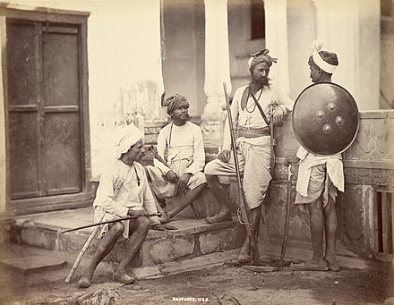 From the 1850s, photography was used in Indian subcontinent by the British for anthropological purposes, helping classify the different castes, tribes and native trades. Included in this collection were Hindu, Muslim and Buddhist (Sinhalese) people classified by castes.[36] Above is an 1860s photograph of Rajpoots, classified as the highest secular Hindu caste. Amongst the Rajpoot clans, Chohans, descendents of warrior princes, were classified to have the highest position. - Caste system in India