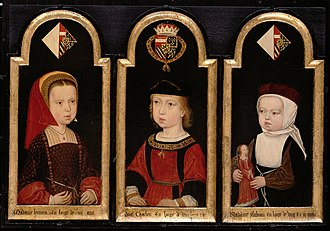 Isabella of Austria - Portrait of Isabella, age 2.  Isabella is on the right.  She is pictured with her brother Charles and her sister Eleanor.