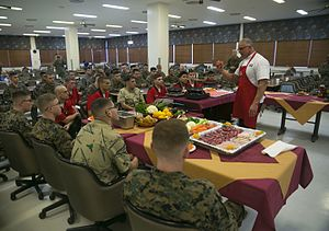 Robert Irvine - Irvine giving culinary advice to a group of US Marine Corps cooks in January 2015.