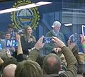 Chelsea and Bill Clinton at Hillary Campaign speech at Manchester Community College NH - 8 Feb 2016 (cropped).jpg