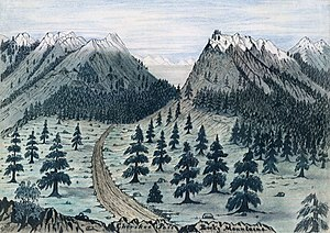Cherokee Trail - Cherokee Trail near Fort Collins, Colorado, from a sketch taken 7 June 1859.