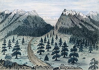 Rocky Mountains - Cherokee Trail near Fort Collins, Colorado, from a sketch taken 7 June 1859