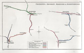 Chichester railway station - A 1906 Railway Clearing House Junction Diagram showing (upper left) railways in the vicinity of Chichester