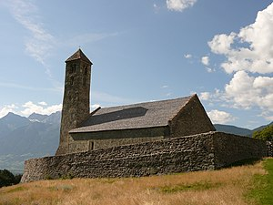 The church of Tarces, little town in Venosta Valley, South Tyrol, Italy