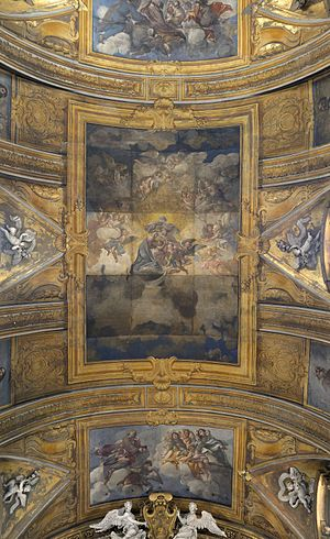 Gesù e Maria, Rome - Ceiling of the church with fresco of the Assumption of Mary
