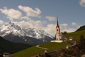The church of Prato alla Drava in South Tyrol, Italy