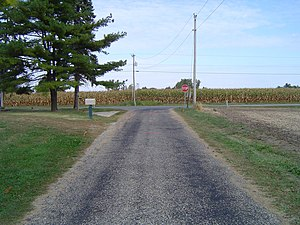Chipseal - A chipseal road near Kempton, Indiana in the United States