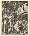 Christ in Limbo; Christ walking down to the arched gateway to Limbo on the right, on the left a group of people including Moses, John the Baptist, Adam and Eve, after Dürer MET DP820332.jpg