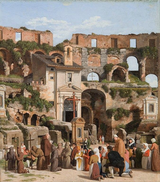 Messe dans le Colisée de Rome vers 1815 - Peinture de Christoffer Wilhelm Eckersberg  (1783–1853).