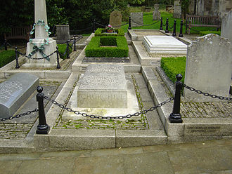 Churchill's grave at St Martin's Church, Bladon. Churchills Grave.jpg