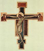 Crucifix (1287-88) Panel, 448 x 390 cm  Basilica di Santa Croce, Florence