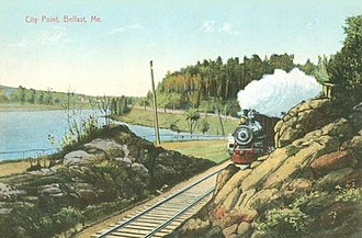 Belfast and Moosehead Lake Railroad (1871–2007) - Train above City Point ca. 1910