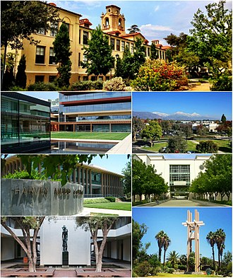 Claremont Colleges - Clockwise from top: Pomona College, Keck Graduate Institute, the Honnold-Mudd Library, Pitzer College, Scripps College, Harvey Mudd College, Claremont McKenna College.