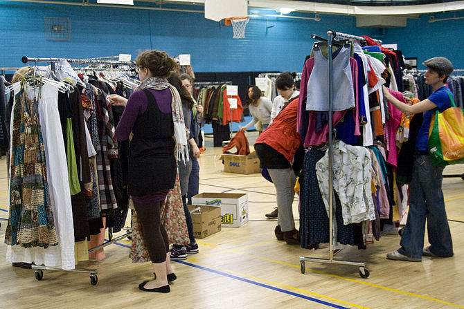 English: A clothing swap in a gym in Toronto, ...
