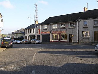 1997 Coalisland attack - Coalisland approaching from the east, with the former RUC base's radio masts in the background