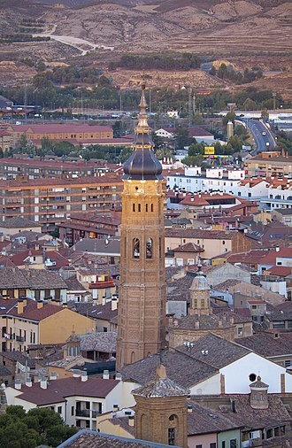 Calatayud - The tower of the Santa María church of mudéjar style.