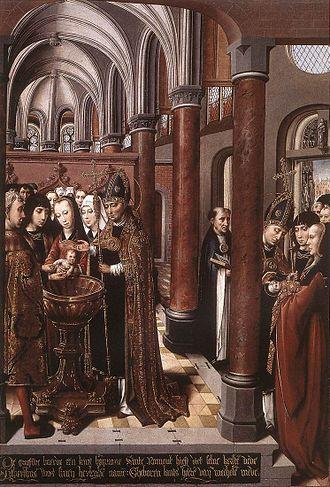 Colijn de Coter - The baptism of Saint Libertus (1490), St. Rumbold's Cathedral, Mechelen