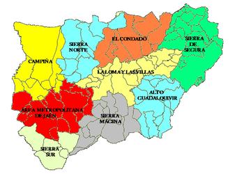 Comarcas of Spain - Comarcas de Jaén