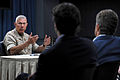 Commandant of the Marine Corps Gen. James Conway, left, responds to a reporter's question Aug. 24, 2010, during a press conference at the Pentagon covering Conway's recent trip through the U.S. Central Command 100824-D-WQ296-159.jpg