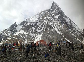 Concordia (Karakoram) - Camp at Concordia with Mitre Peak in the background