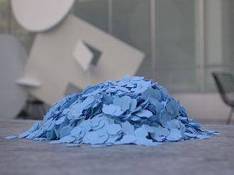 Confetti - A pile of blue confetti.
