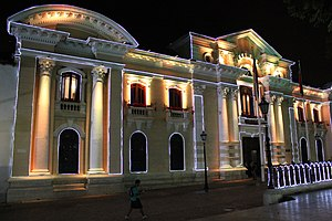 Palacio Municipal de Caracas - Exterior facade lit up at night.