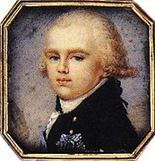 Grand Duke Constantine Pavlovich of Russia as a boy (c. 1795). The latest-born notable person to be portrayed wearing a powdered wig tied in a queue.