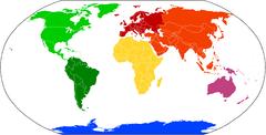 Verteilung der Kontinente