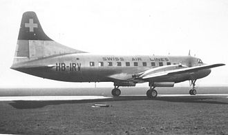 Convair CV-240 family - A 1949-built Convair 240 of Swissair at Manchester, England, in March 1950