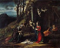 Antonio da Correggio: Nativity with Saints Elizabeth and John the Baptist