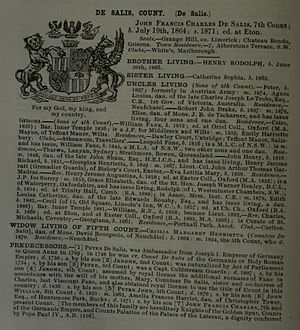 John Francis Charles, 7th Count de Salis-Soglio - Debrett's Peerage 1888, Foreign Titles of Nobility section, p. 822