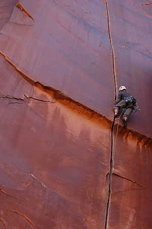 Indian Creek (climbing area) - Image: Crack climbing in Indian Creek, Utah