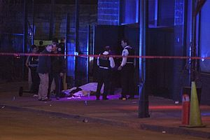 Crime in Chicago - CPD working a murder crime scene in Englewood.