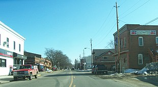 """Looking east at downtown Cross Plains on <a href=""""http://search.lycos.com/web/?_z=0&q=%22U.S.%20Route%2014%22"""">U.S. 14</a>"""