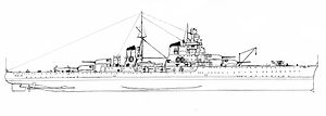 Italian cruiser Zara - Line-drawing of Pola; Zara was similar in appearance
