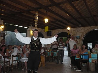 Folk dance - Cyprus folk dance with glasses in Paphos