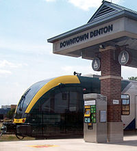DCTA A-Train at Downtown Denton Transit Center crop.JPG